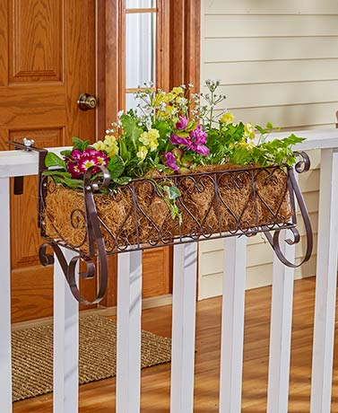 Decorative Rail or Fence Planters Heart Scrollwork Fits Fence Deck Rails Garden