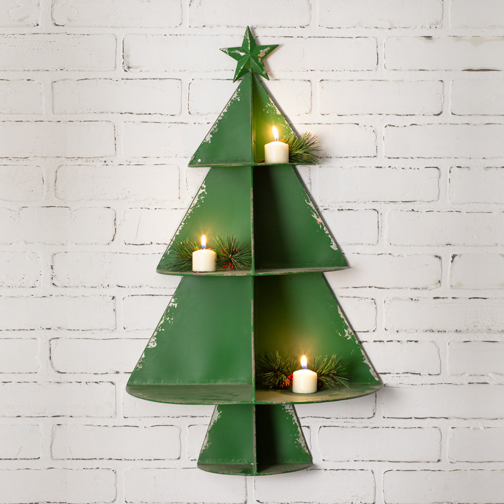 Christmas Tree Wall Display Six Shelves Sawtooth Hanger - 15¾''W x 8''D x 27''