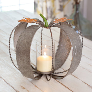 Metal Pumpkin Candle Holder 12¼'' dia. x 11½''