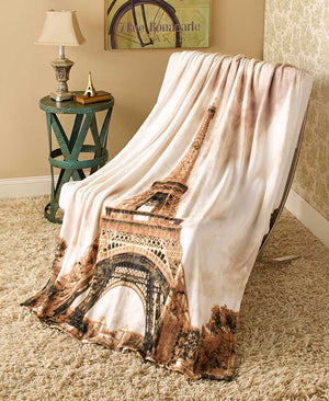 "Around the World Plush Throws Blankets Soft Warm Paris New York London 50""x60"""