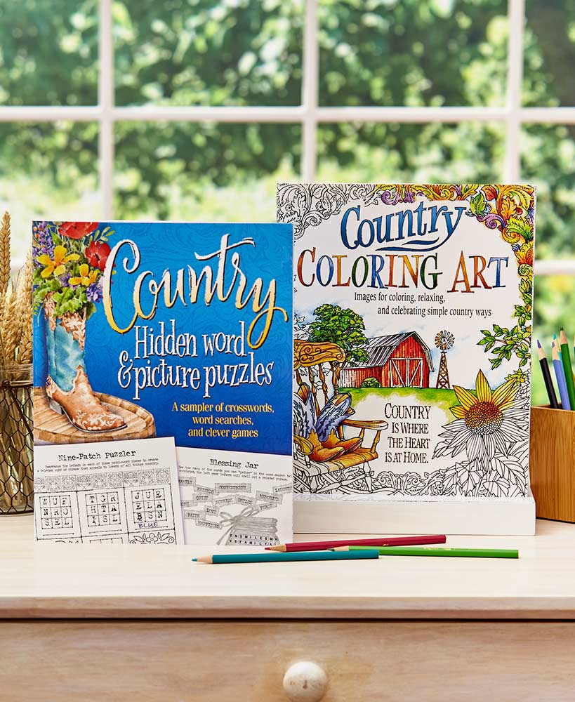 Country Coloring Art or Puzzles Books