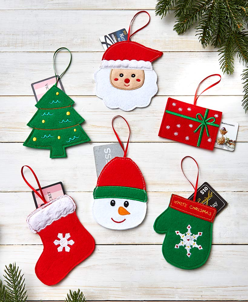 Set of 6 Christmas Gift Card Holders