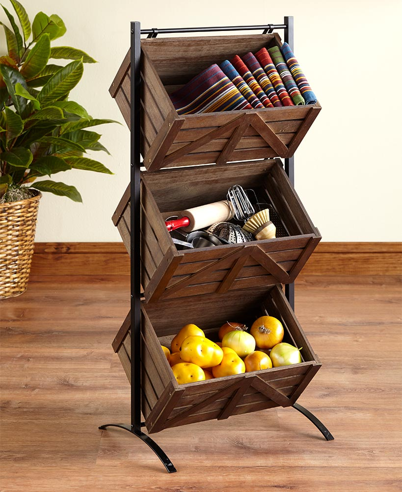 Barn Door-Style Triple Basket Storage Racks