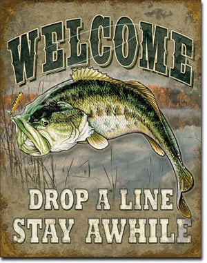 "Welcome Bass Fishing Tin Sign 16"" X 12.5"" , 12x16"