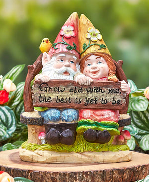 Happy Gnome Couple on Bench