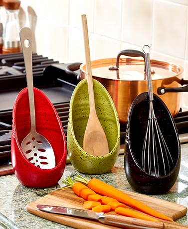 Speckled Spoon Rests Earthenware Kitchen Decor Vertical Design Red Green Black