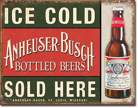 Anheuser-Busch - Ice Cold Tin Sign 16 x 13in