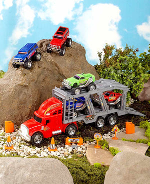 14 PC Monster Truck Hauler Playset Plastic Battery Operated Lights & Sounds New