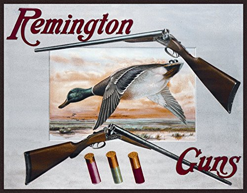 Remington Arms 2 Shotguns & Ducks Tin Sign 16 x 13in