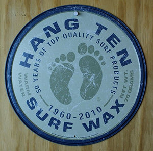 Hang Ten Surf Wax Round Tin Sign 12 x 12in