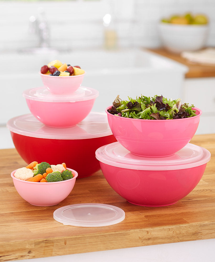 12-Pc. Oversized Mixing/Storage Bowls Choice of Red Ombre or Teal Ombre