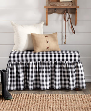 Farmhouse Ruffle Cushioned Bench