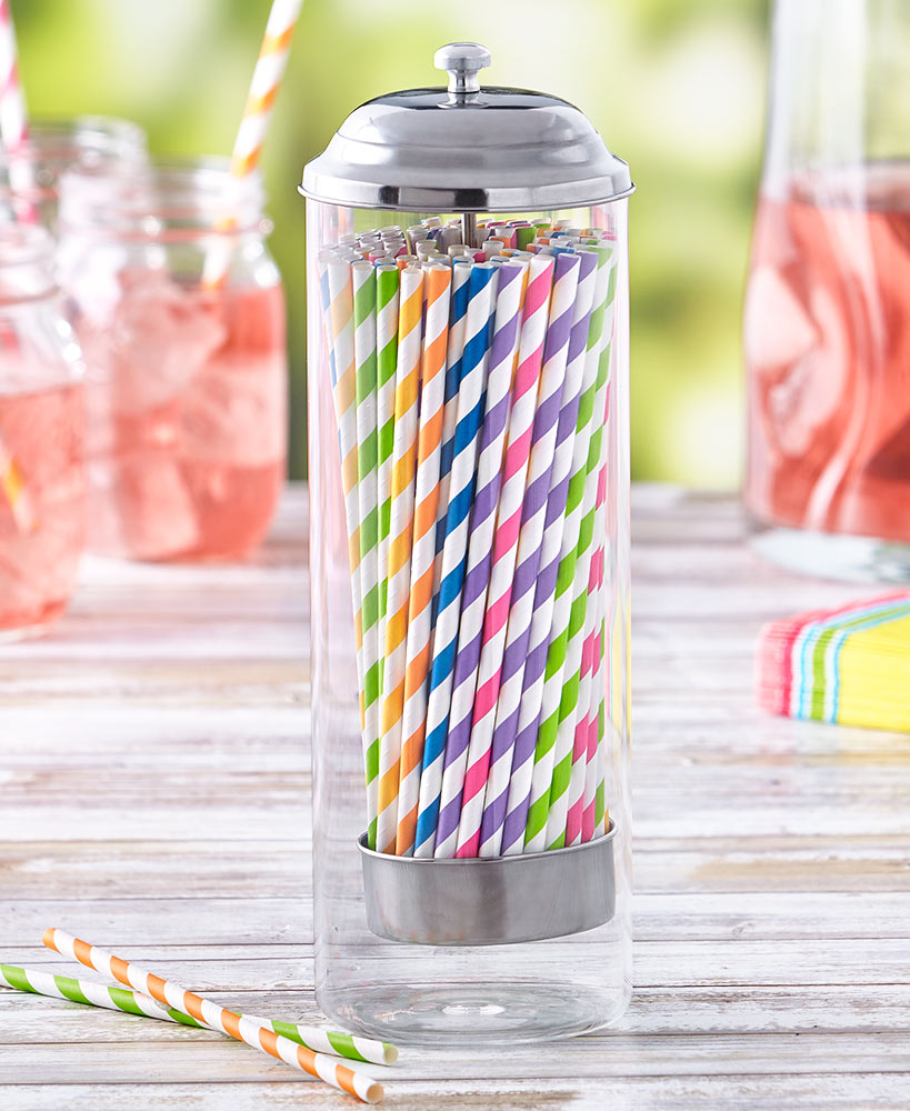 100 Colorful Paper Straw Set or Straw Dispenser