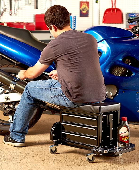 Mechanics Rolling Work Seat Bench Built-In Toolbox Creepers Garage Car Shop