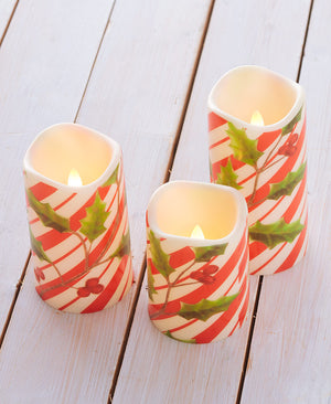 Set of 3 LED Candy Cane Candles