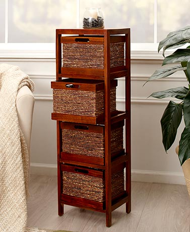 5 PC Storage Tower and Baskets Wood and Cornhusk Rope Tower Holds 4 Baskets New