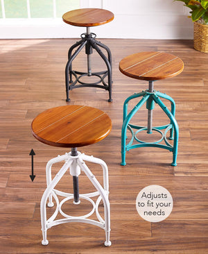 Adjustable Height Stools Swivel Bar Rustic Industrial Farmhouse Teal or Black