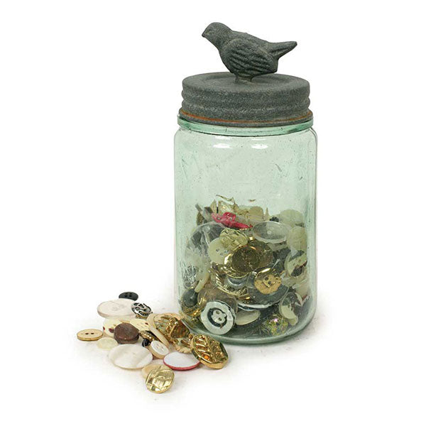 Pint Mason Jar With Songbird Lid - Barn Roof 3'' dia. x 7''H