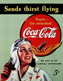 Coca- Cola Tin Sign 13 x 16in Sends Thirst Flying Vintage Repro