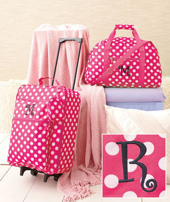 Girls Monogram Luggage Sets 3 PC Rolling Suitcase Duffel Bag Clutch Polyester