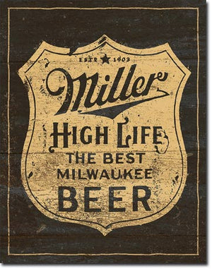 Tin Sign Miller High Life Beer 12.5x16 in