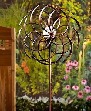 Double Spiral Solar Spinners Patriotic or Bronze Weather Resistant