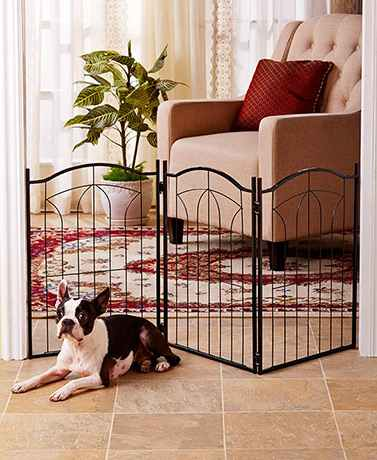 Classic Metal Arch or Wooden Pet Gates Adjustable 3-Panel Design Vertical Bars
