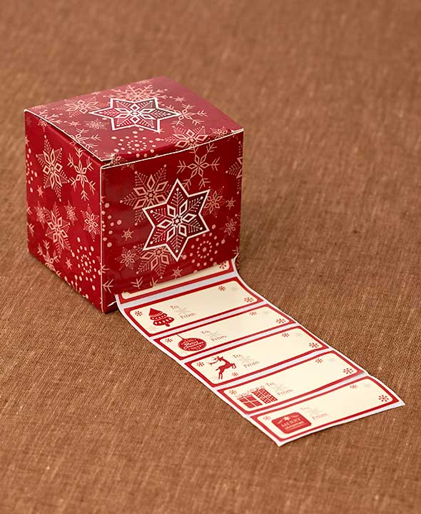 1,000 PC Boxed Holiday Gift Tags Box Festive Designs Sticky Back