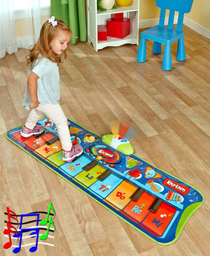 Junior Piano Mat Step-To-Play Flashing Lights & 20 Demo Songs Fun Kids Toy New