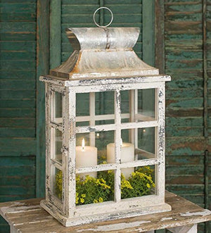 Distressed White Large Window Pane Style Candle Lantern