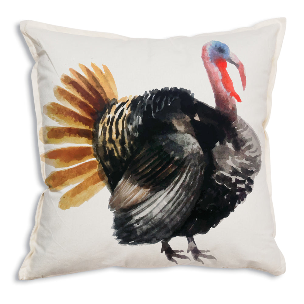 Watercolor Turkey Cotton Throw Pillow