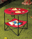 Folding Picnic Table with Shelf Portable Drink Holders Storage Sports Tote Bag