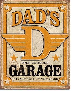 Dad's Garage Distressed Retro Vintage Tin Sign 13 x 16in