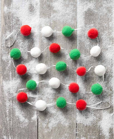"80"" Red Green and White Snowball Pompom Christmas Tree Garland"