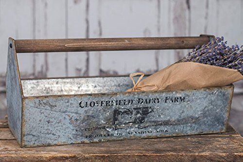 Vintage Tool Box Tray Carrier Galvanized Steel Cloverfield Dairy Farm / Barn Style with Wood Handle