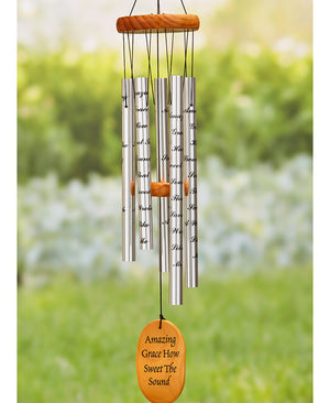 "33"" Memorial Wind Chimes Choice of ""If Tears"", ""Amazing Grace"", or ""Footprints"""