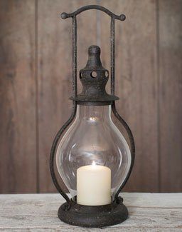 Primitive Mini Steeple Candle Lantern, 12 Inches Tall in Rustic Brown