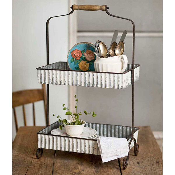 Whitewash Corrugated Two-Tier Tabletop Caddy 15¼''W x 10''D x 23½''H