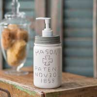 White Pint Mason Jar Soap Dispenser Barn Roof Lid