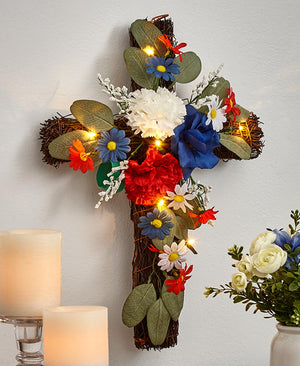 Lighted Floral Crosses