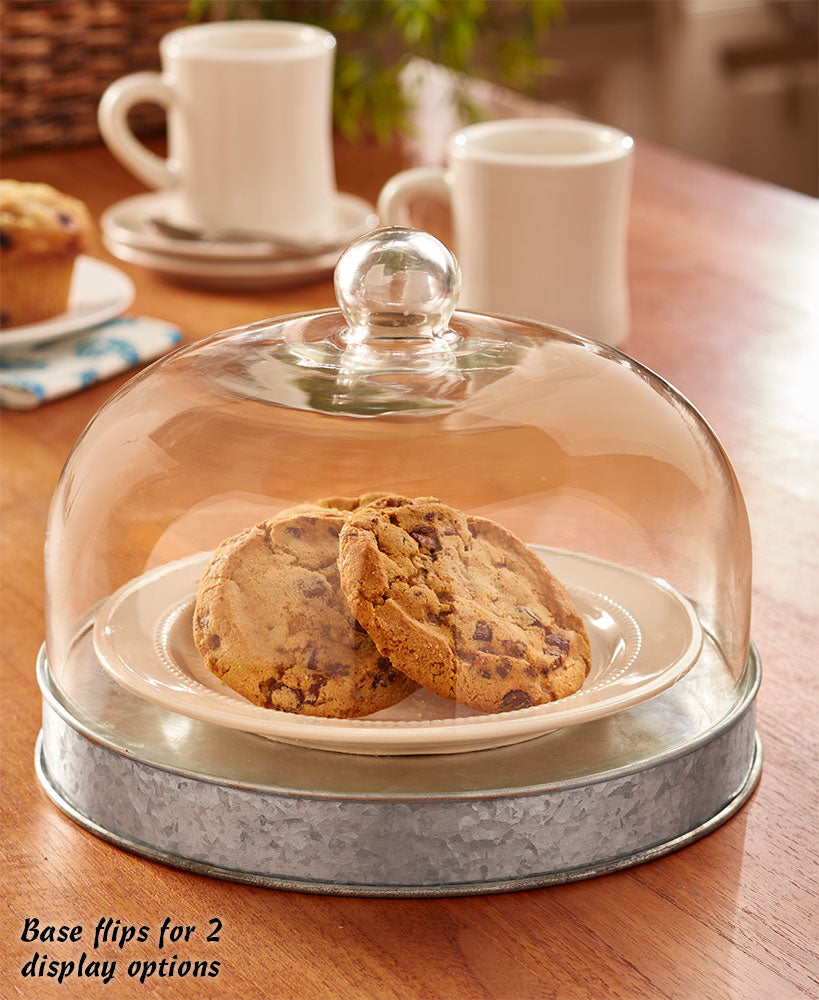 Glass Domed Serving Plates Choice of Galvanized or Bronze finish