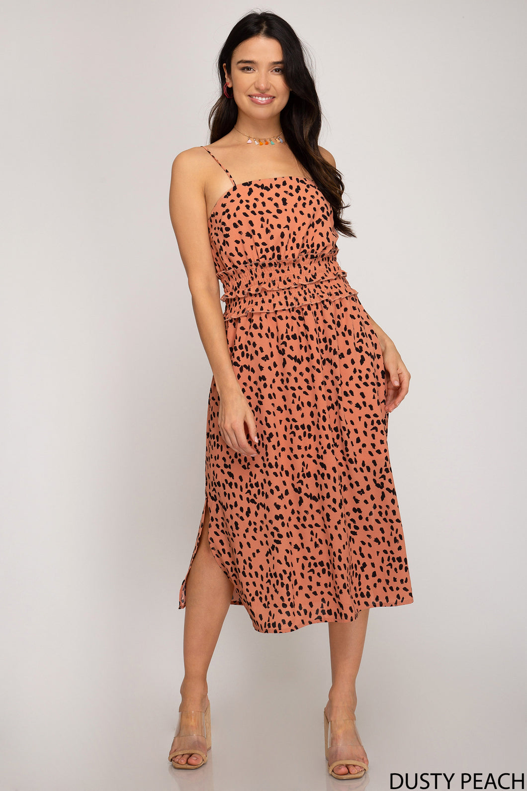 Dusty Peach Printed Dress