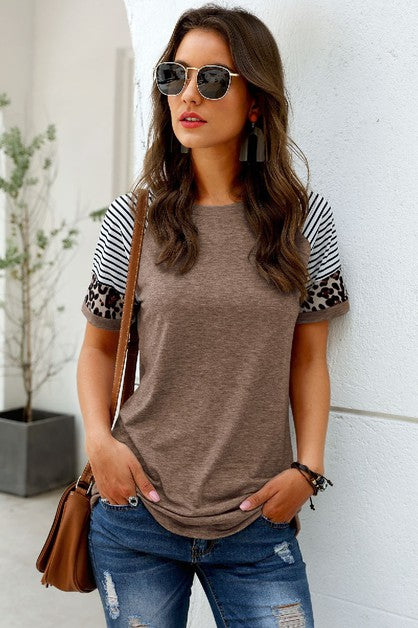 Khaki Tee With Patchwork