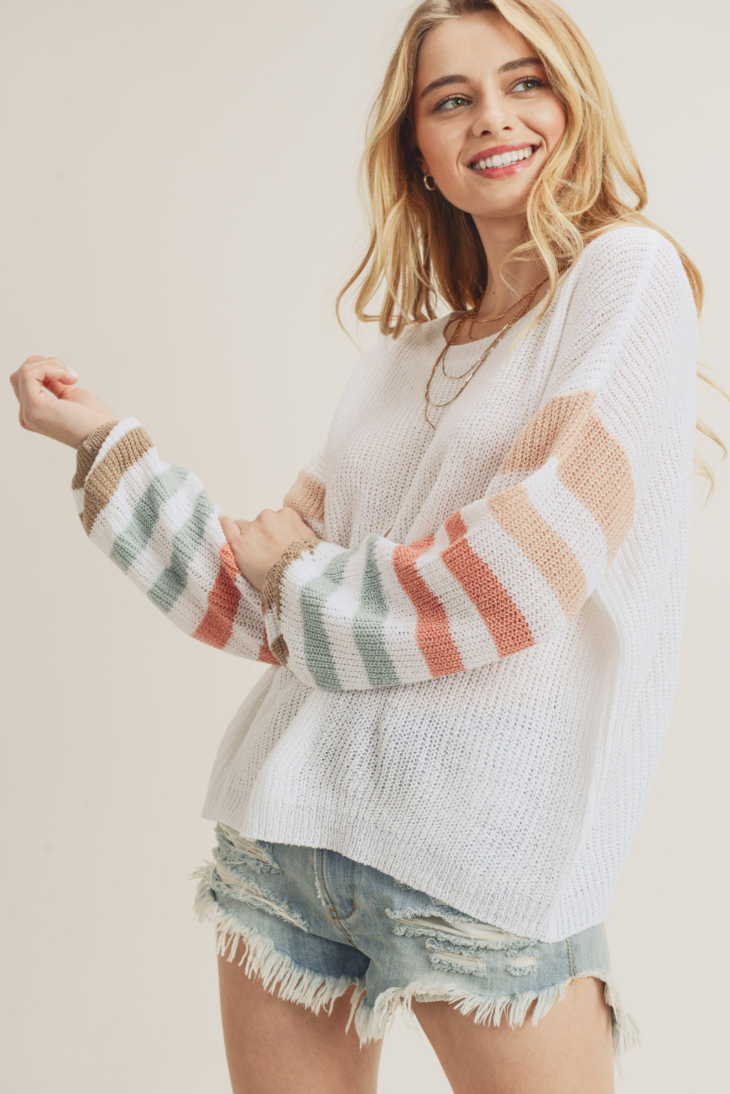Ivory Rainbow Sleeve Sweater