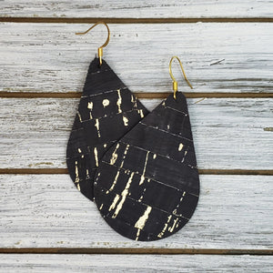Black Cork Teardrops with Gold Accent