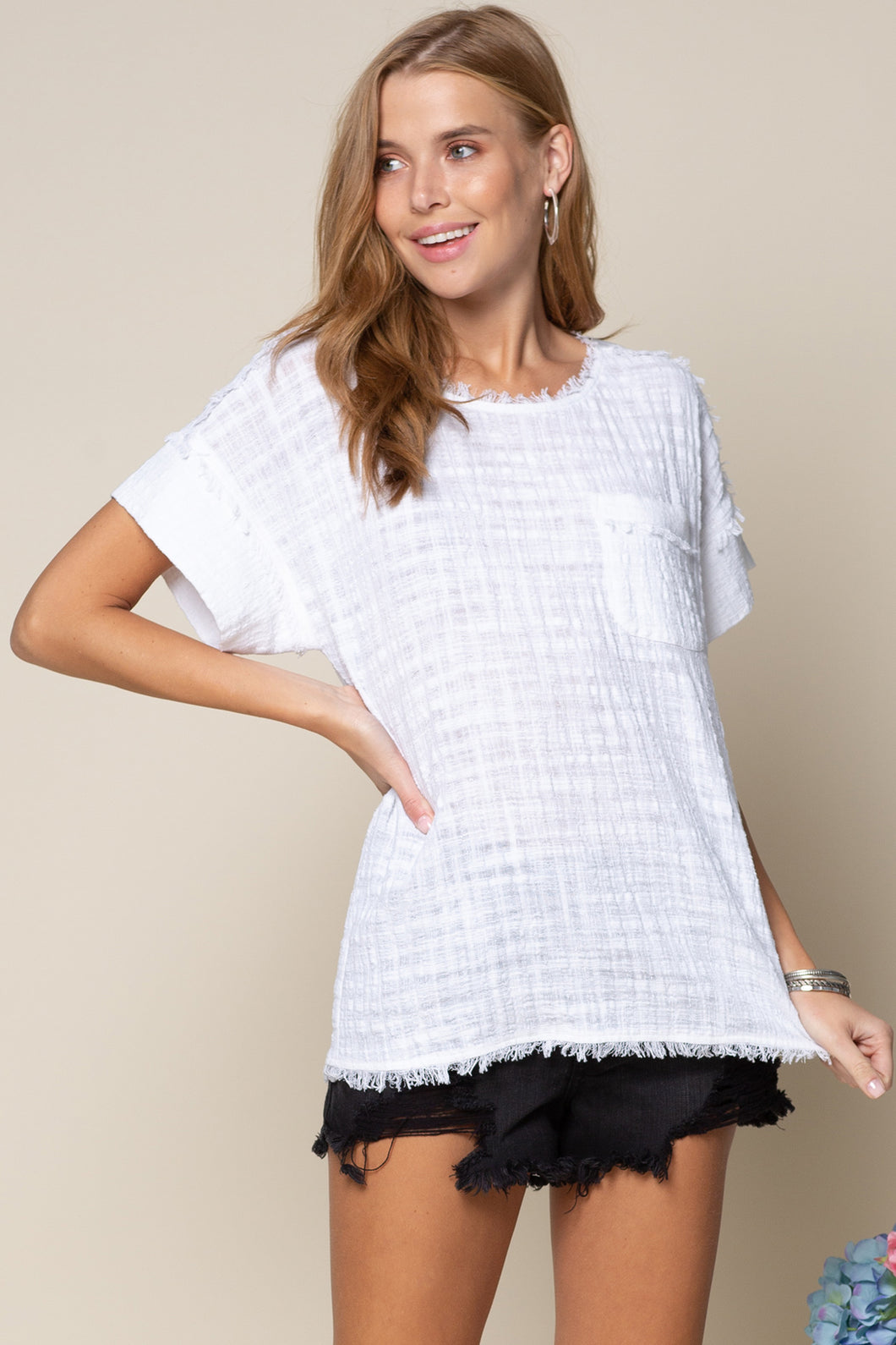 White Frayed Tencel Top