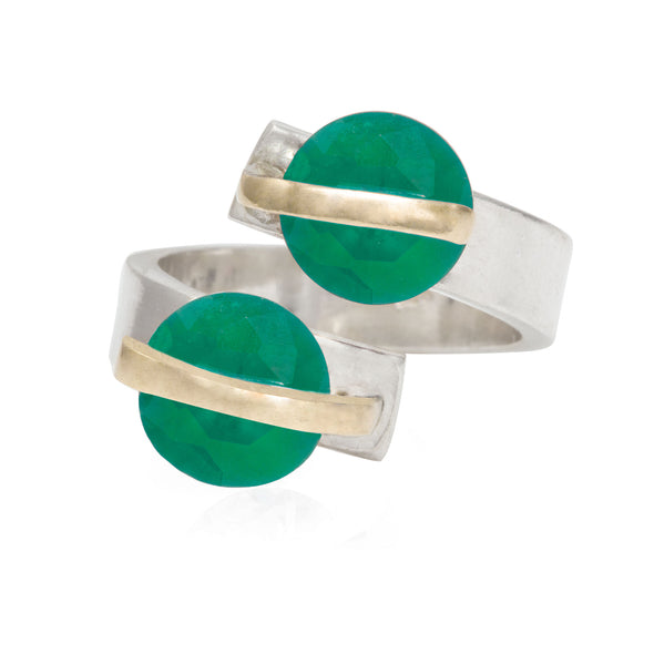 alter-ego-twin-green-crystals-adjustable-silver-ring