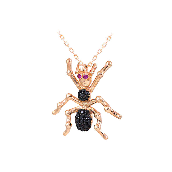 black-widow-spider-rose-gold-plated-silver-necklace