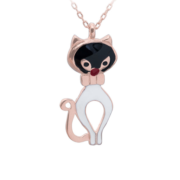 black-and-white-purr-meow-rose-gold-plated-silver-cat-necklace