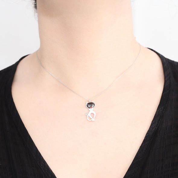Black and White Purr Meow Silver Cat Necklace-1